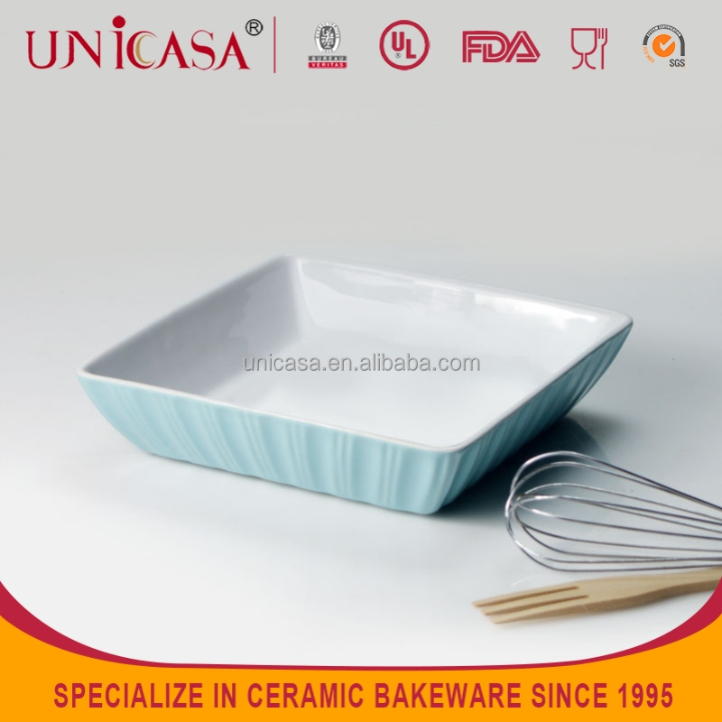 UNICASA stoneware salad plate with blue color and strip embossed