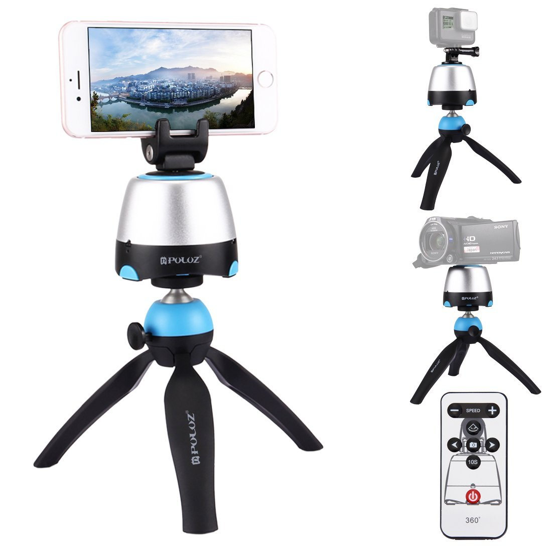 PULUZ Pocket Mini Tripod Mount with 360 Degree Ball Head for Smartphones, GoPro, DSLR Cameras (Blue)