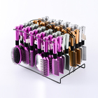 Professional different style 24pcs/set plastic massage hairbrush set with iron display rack