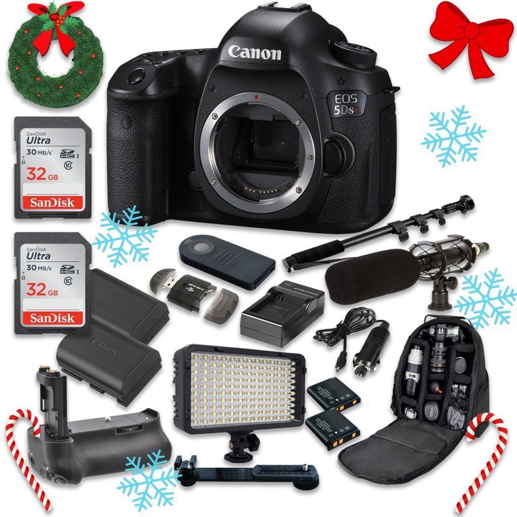Canon EOS 5DS R Digital SLR with Low-Pass Filter Effect Cancellation Camera (Body Only) with 2pc SanDisk 32GB Memory Cards + Battery Power Grip + Special Promotional Holiday Accessory Bundle