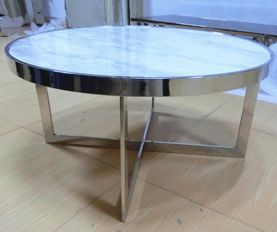 Factory Supply Hot Sales White Marble Metal Stainless Steel Coffee Table Set