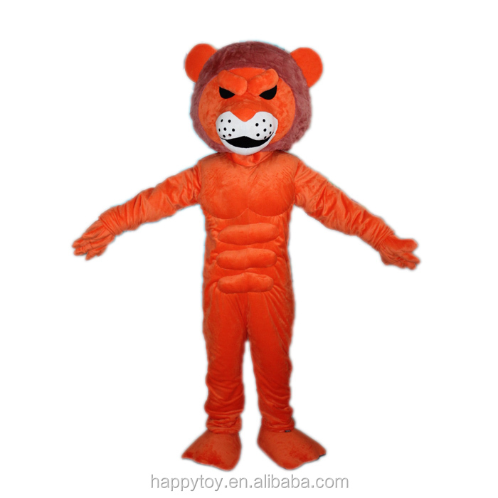 HI china factory custom red tiger big muscle mascot costume for sale