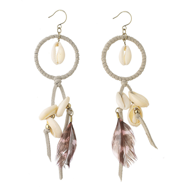 costume jewelry 2017 summer long feather and shell earrings women