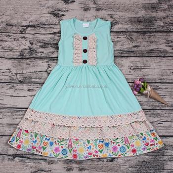 Verano Mar Azul Lace Ruffle Dress Boutique Vestidos De Algodón Diseño De Hadas Vestido De Fiesta Desgaste Barato Al Por Mayor Traje Niñas Vestido