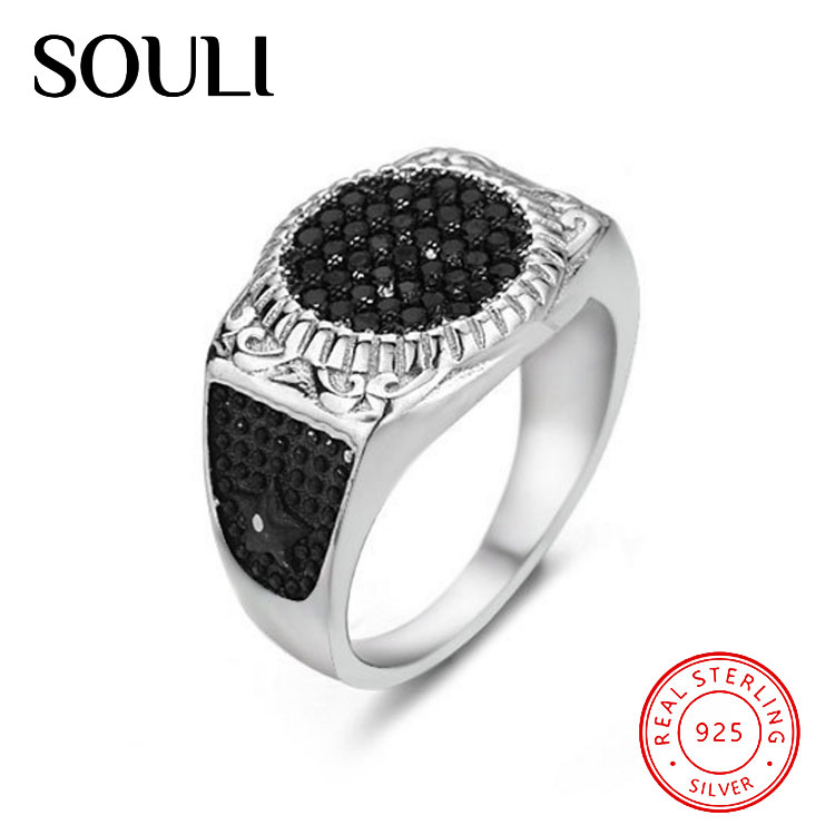 Men's Ottoman Jewelry Designs 925 Sterling Silver Rings Zircon Stone Ring For Men