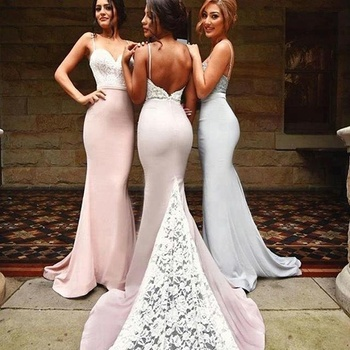 729eaad6e62 2018 Blush Pink Bridesmaid Dresses Spaghetti Strap Mermaid Lace Bridesmaid  Dresses Long Maid Of Honor Dress