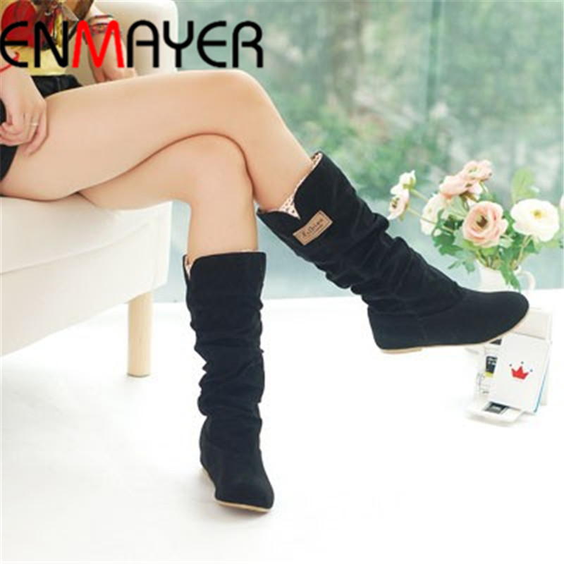ENMAYER size34 43 new women winter flats round toe fashion knee high Snow boots for women