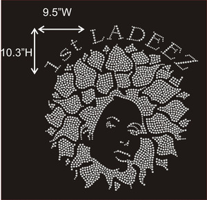 First Ladeez Afro Lady Iron on Hot Fix Rhinestone Transfer Motif Designs