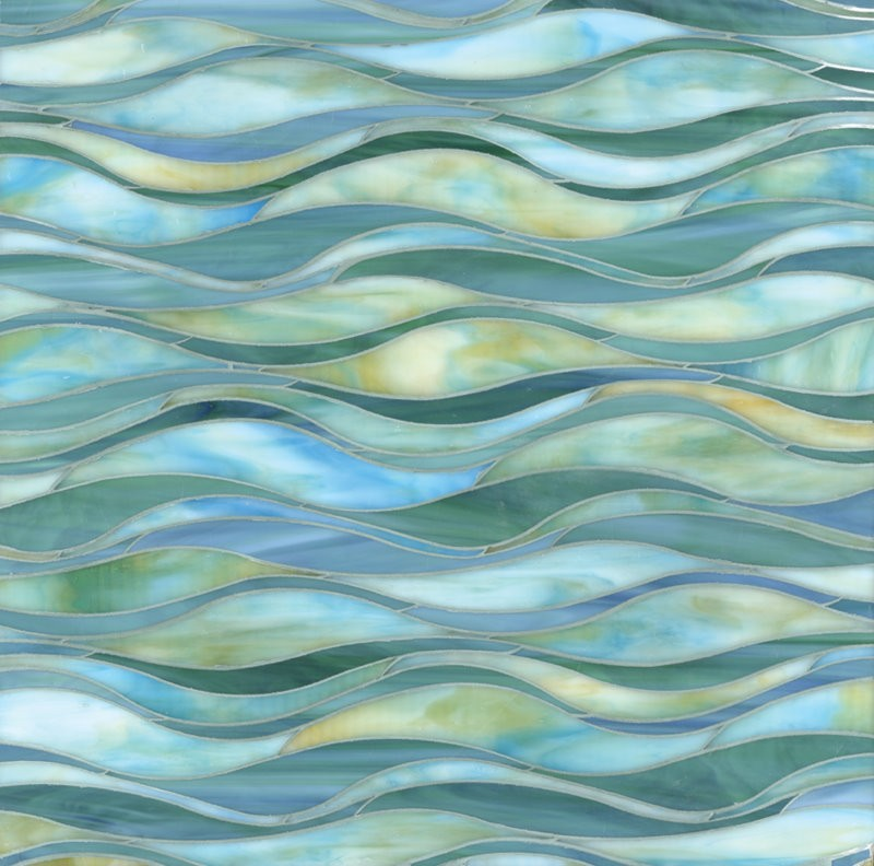 Strip Blue wave stained glass mosaic tiles for wall decoration D72012-1