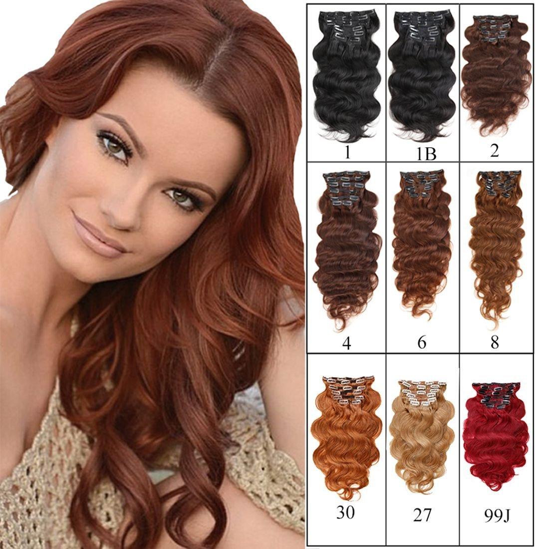 "Full Head Clip in Hair Extensions Body Wave Human Hair Brazilian Virgin Hair Double Weft Black Brown Blonde Burgundy Copper Red 7Peices/set 70g-160g (100g 18"", Auburn Brown)"