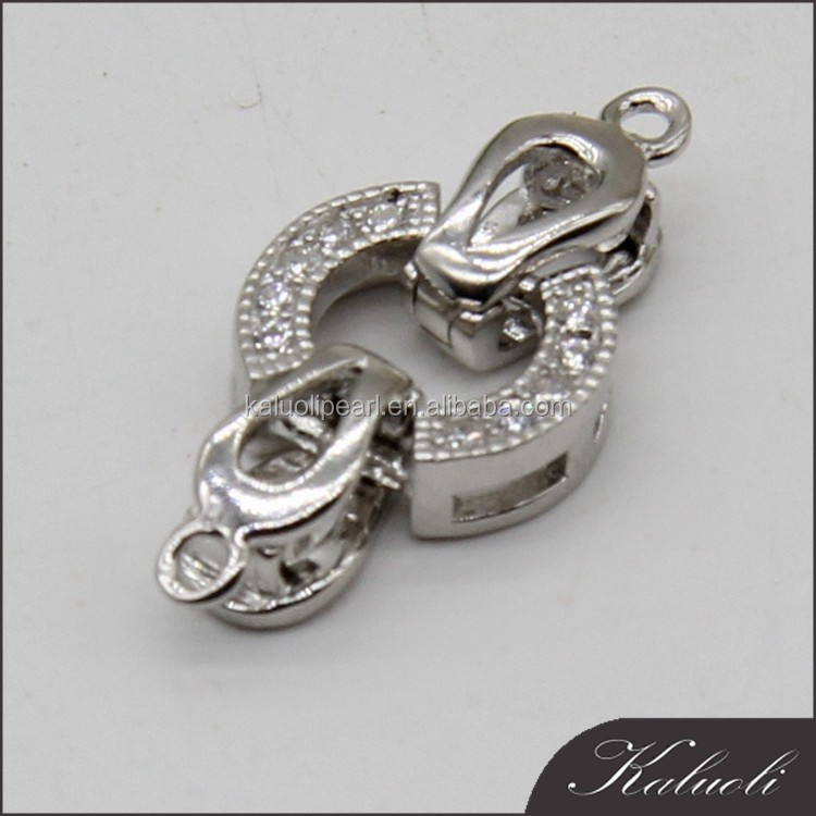 Top quality classic 925 zircon silver clasp for jewelry boxes