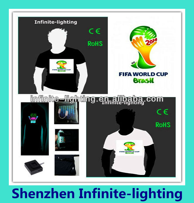 el lighting tshirt for 2014 brazil world cup/ World Cup Brazil EL Light Tee