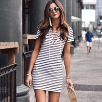 V neck lace up stripe casual dress short sleeve fashion summer dress 2018 sundress women dresses