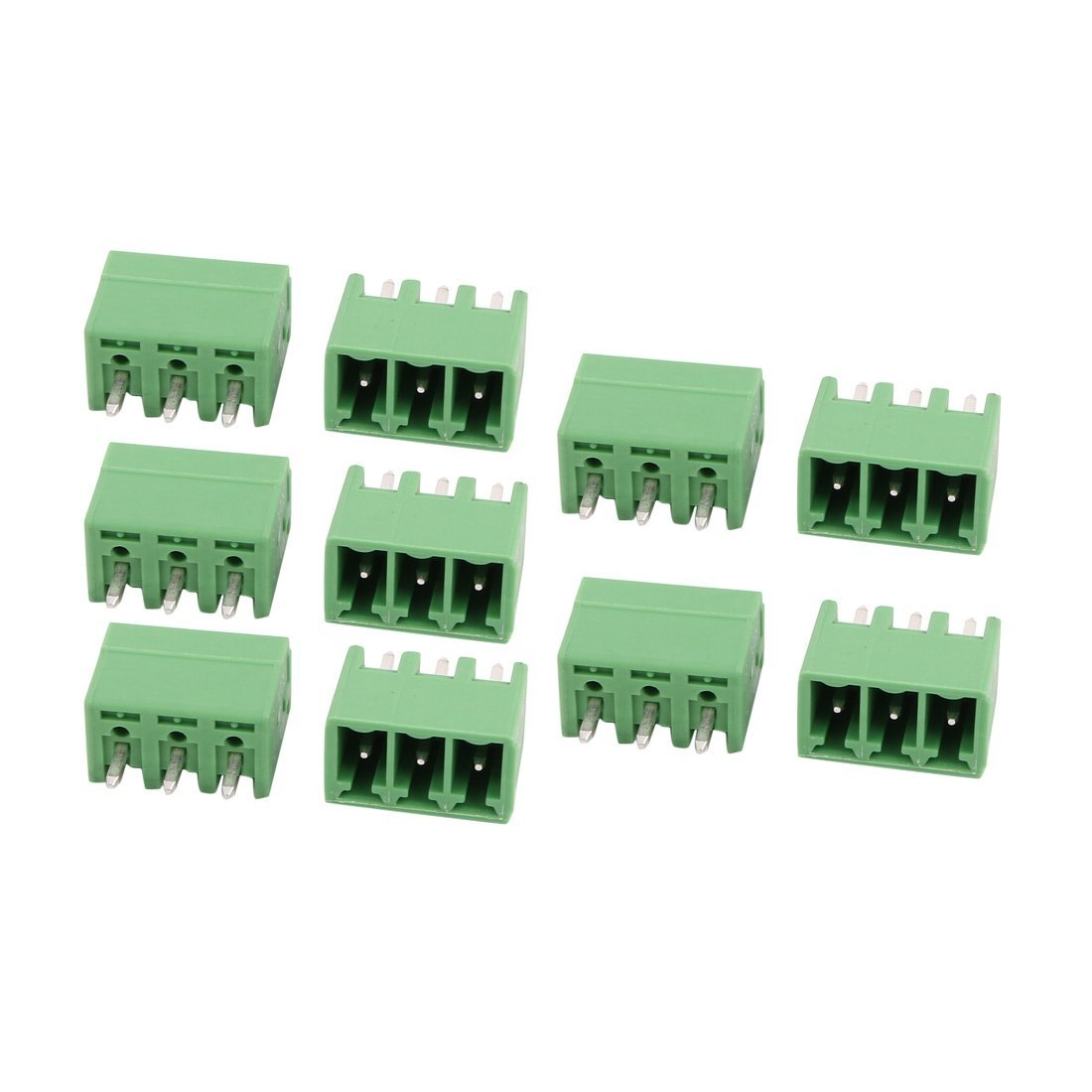 uxcell 10Pcs AC300V 8A 3.81mm Pitch 3P Terminal Block Wire Connection for PCB Mounting