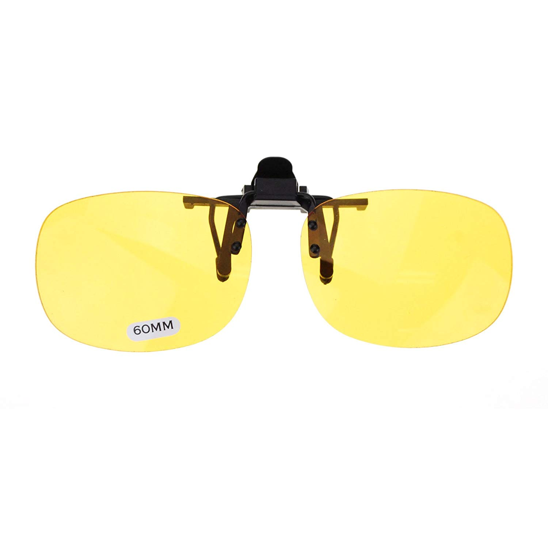 542696ea0414 Get Quotations · Unisex Retro 44mm x 60mm Clip On Night Driving Yellow Lens  Sunglasses Black