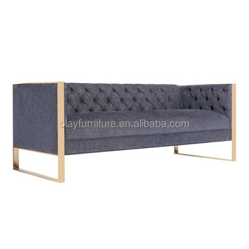 2017 New Latest Designed Brassed Stainess Steel Frame Furniture Living Room  Sofa With Gold Leg