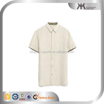 Short Sleeve Linen Shirts For Men 2016 New Design Man Shirt