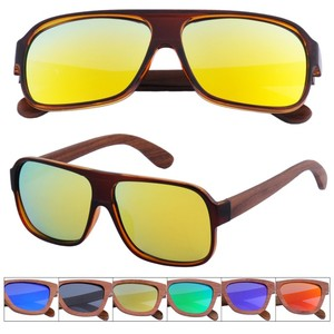 ZL208 A Oversized Aviator PC Mixed Black Walnut polarized Wooden Temple Sunglasses