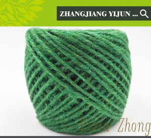 1 strand biodegradable green color raw yarn string dyed jute twine christmas tree decoration handicraft weaving cord