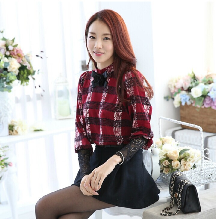 New winter Korean plaid with velvet bottoming shirt female long sleeved Lace Chiffon shirt blouse / shirt