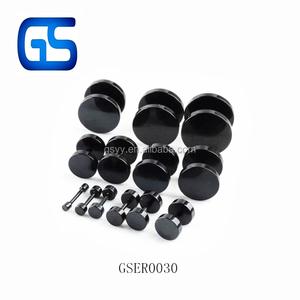 Black Stainless Steel Round Barbell Screw Back Ear Studs Men Earrings
