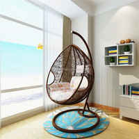 Patio furniture hanging rattan swing egg chair with cusion