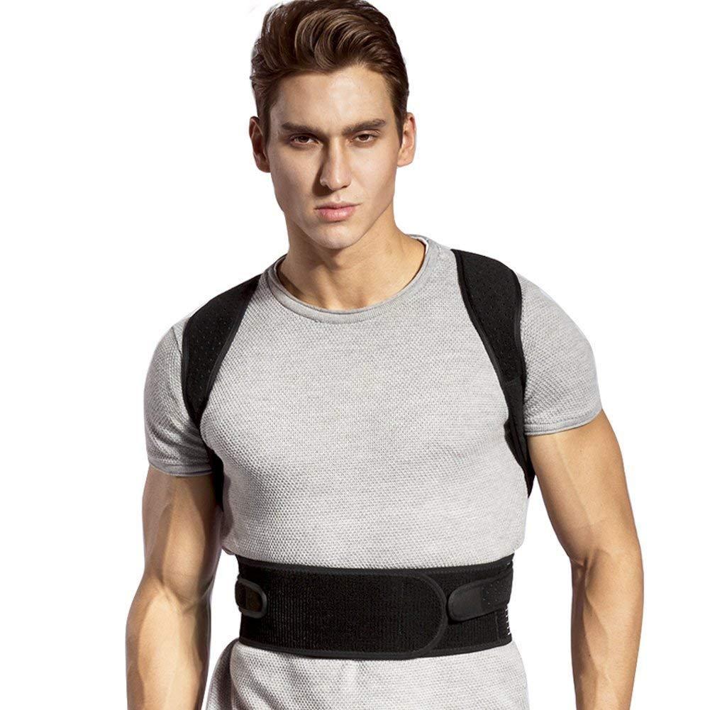 Back Posture Corrector for Women & Men, Comfortable Upper Back Posture Brace Adjustable Clavicle Support Brace with Short Lumbar Support Splint
