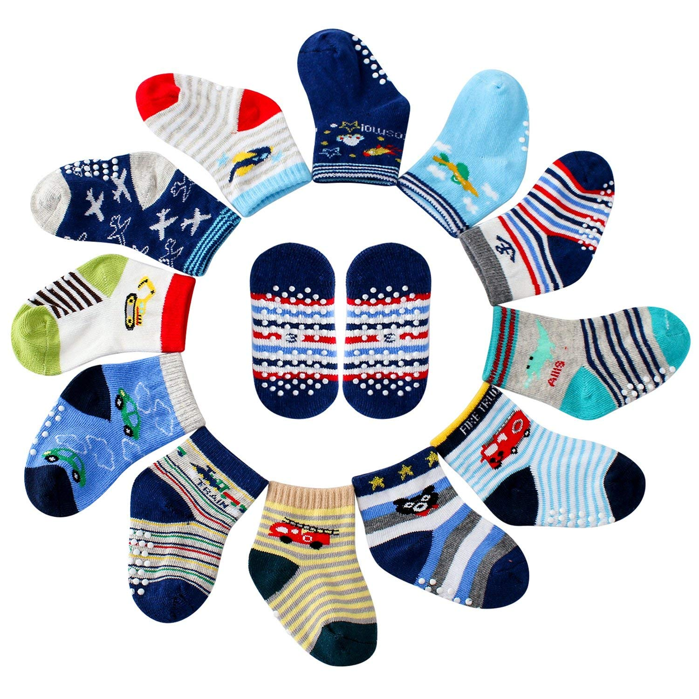 Maybox 12 Pairs Non Skid Cotton Socks Toddler Boys Crew Socks