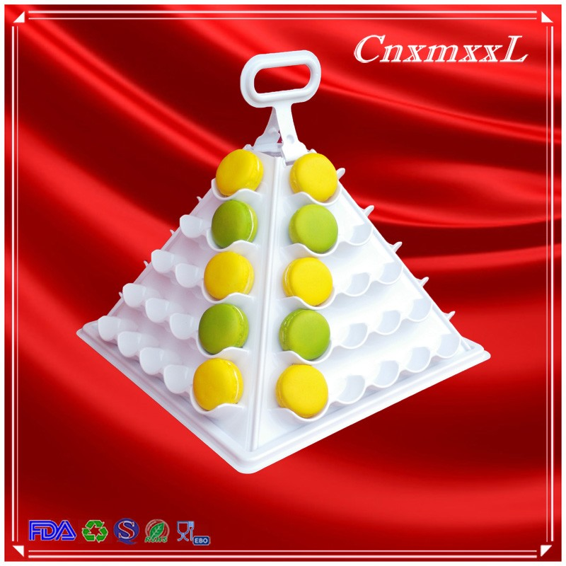 new fashion 4 tier layers new design macarons cakes chocolates food fold foldable plastic pyramid