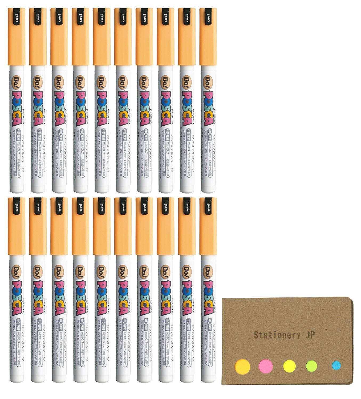 Uni Posca Paint Marker Pen PC-1MD, Extra Fine Point, Pastel Color Orange Ink, 20-pack, Sticky Notes Value Set
