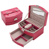 Portable Handheld Crocodile Grain Travel Leather Jewelry Box Organizer Case With Key Lock