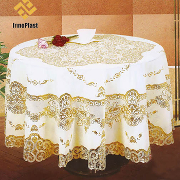 Attrayant Cheap Gold Pvc Material Plastic Lace Tablecloth China Factory