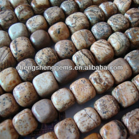 10mm natural square smooth picture jasper loose stone beads