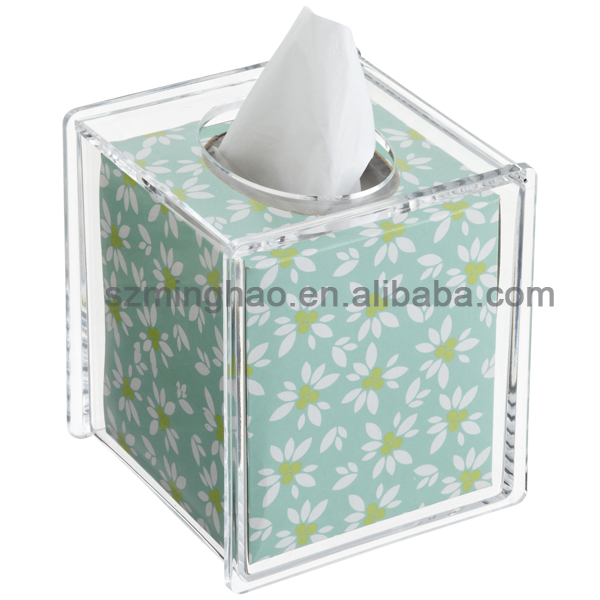 Modern Acrylic flower silk printed napkin holder tissue box