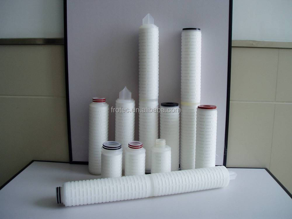 Water Filtration PES Folded 0.2 Micron Filter Cartridge In Wine and Beer, Bottled Water Processing Industry