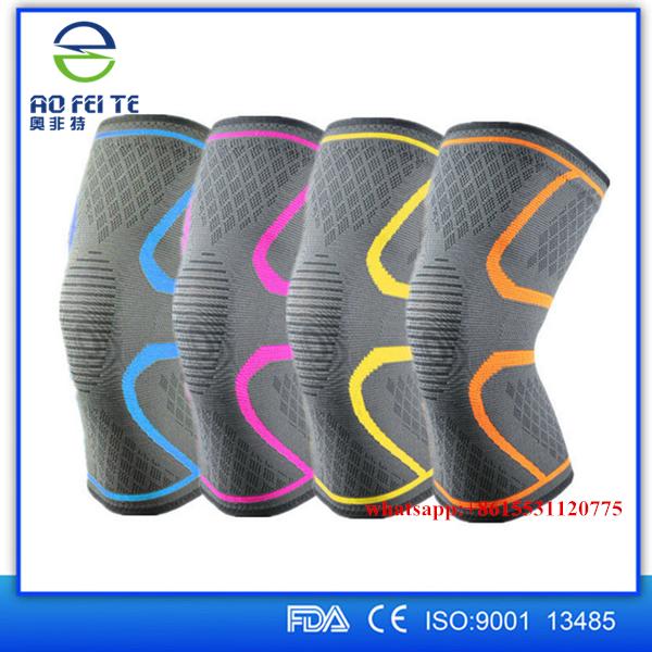 2018 Adjustable Strap Elastic Patella Adjustable Strap Elastic Patella Sports Support Relief Brace Black Nylon Knee, Blue yellow orange pink