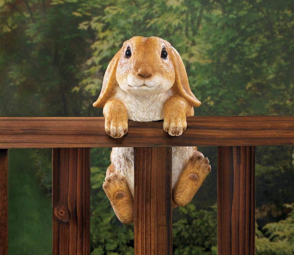 Get Quotations · Garden Décor 10018098 Climbing Golden Baby Bunny Buddy  Hang On Fence, Wall Or Flower Garden