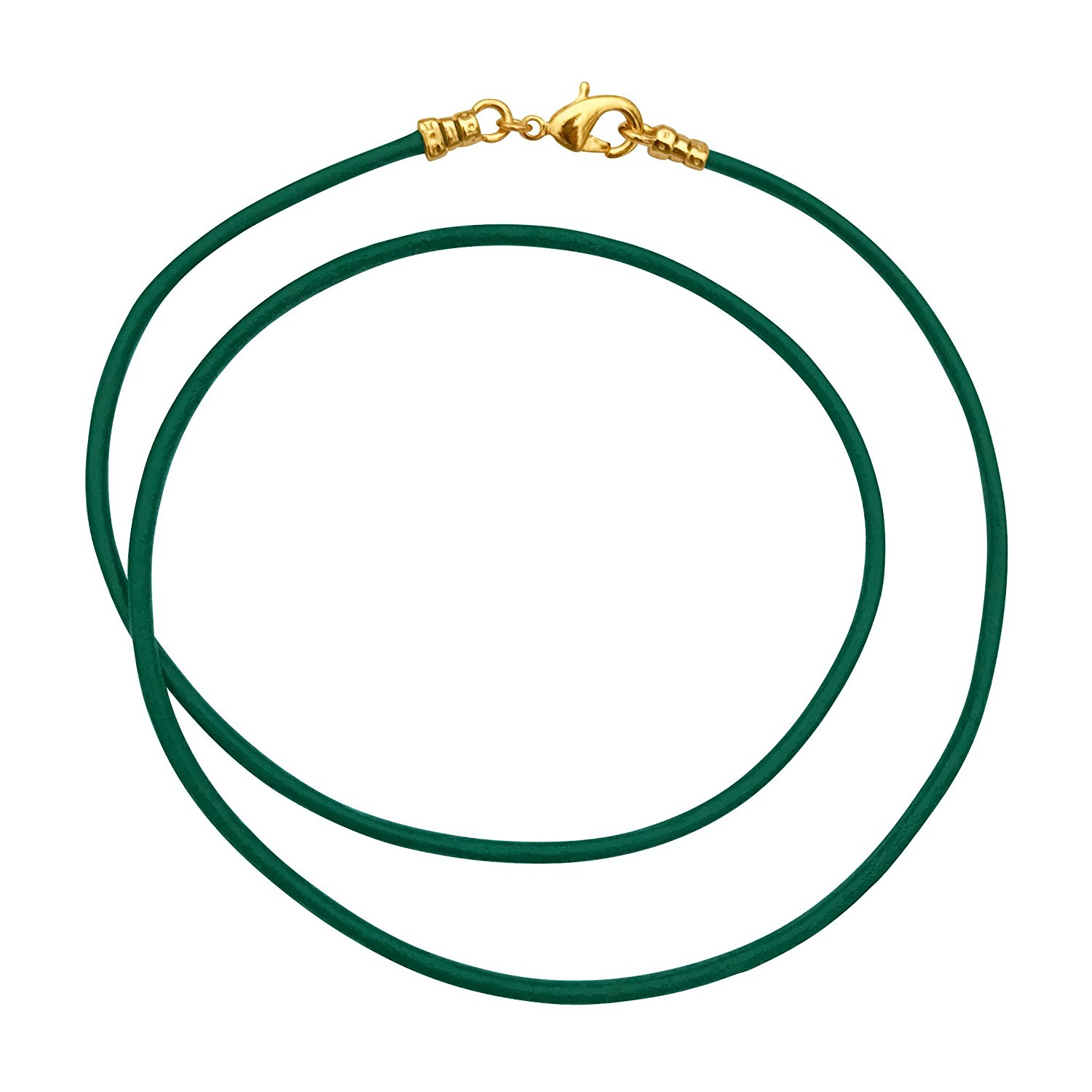 Gold Plated 1.8mm Fine Emerald Green Leather Cord Necklace
