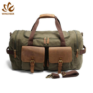Low price wholesale leather and canvas men vintage duffle bags travel cargo bag