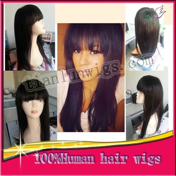 Wholesale Factory Price Brazilian Virgin Human Hair Wig Glueless Full Lace Wigs For Black Women With neat bangs