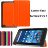 360 Degree Rotary Leather Case For Amazon New Kindle Fire 7 Tabelt Cases 7 Inch BookStyle (Orange) Cover