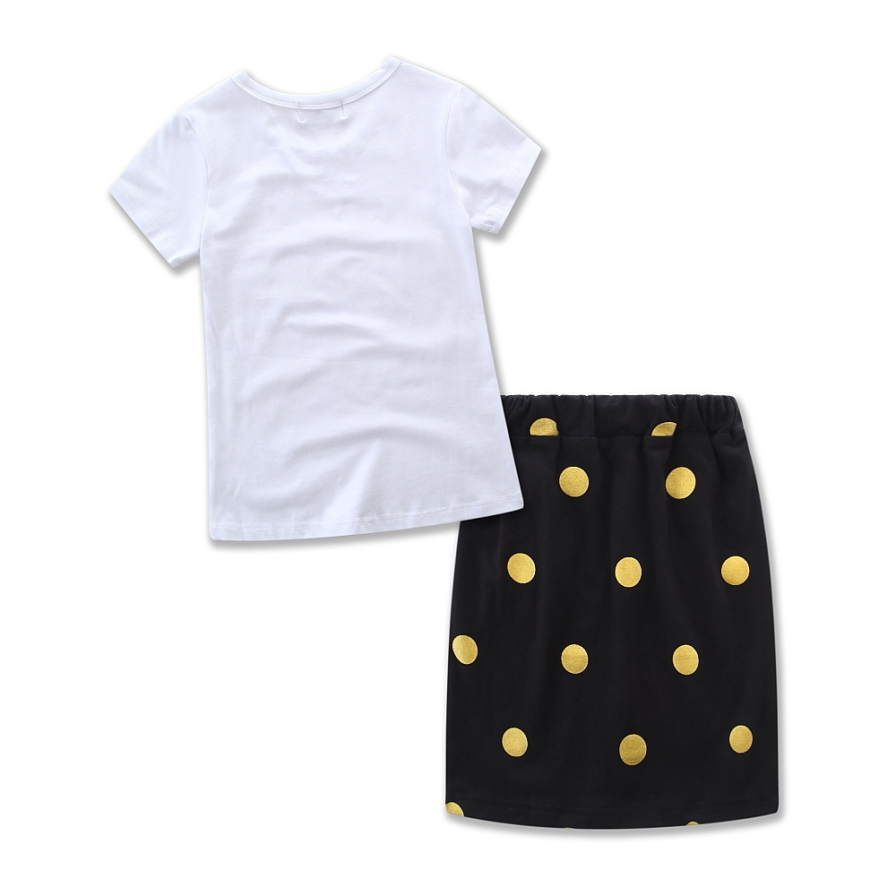 Hao Baby Best Selling Mother And Daughter Parent-Child Wear Polka Dot Letter Skirt Suit Ins Explosion Models Parent-Child Wear