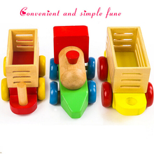 2016 new design wooden table Three small wooden train assembly combination of early childhood educational toys