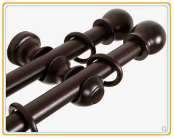 Living Room Elegant Style Double Wooden Curtain Pole Rods