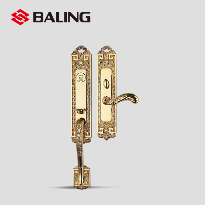 master gate lock set double sided door handle lock luxury antique brass villa door handle lock