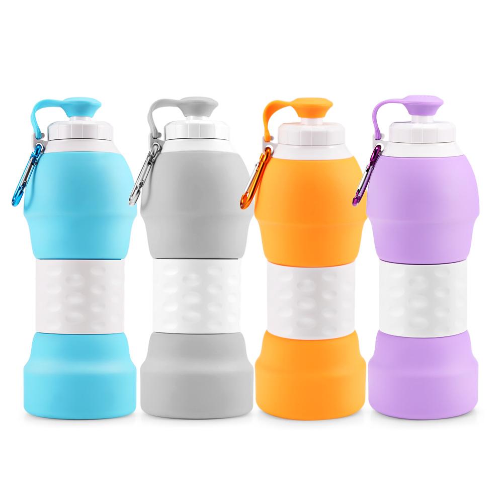 BPA-frei faltbare faltbare zusammenklappbare Reise-Sport-trinkende Silikon-faltbare Wasserflasche