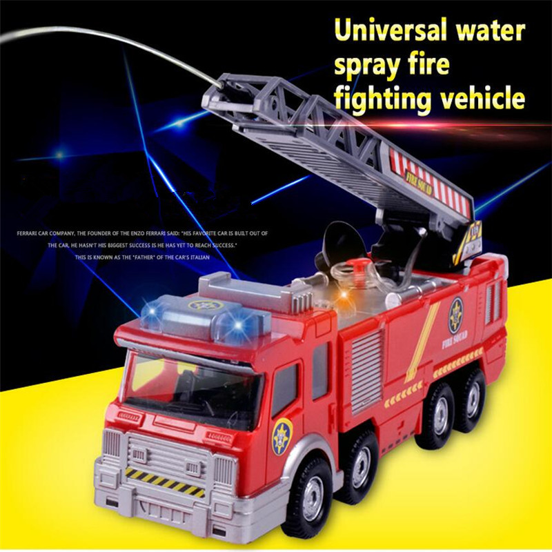 2019 1x Electric Fire Truck Toy For Kid Extending Ladder Flashing Lights Sirens With Water Pump Hose To Shoot Water Bump From Wonderfulss Price