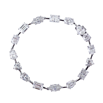 7inches long fancy cut moissanite diamond 18k white gold bracelet for lovers