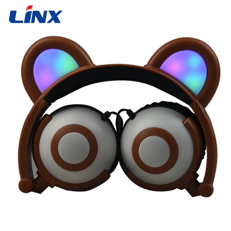 in stock, factory price cat ear headphone customized led earphones glowing cat earpiece