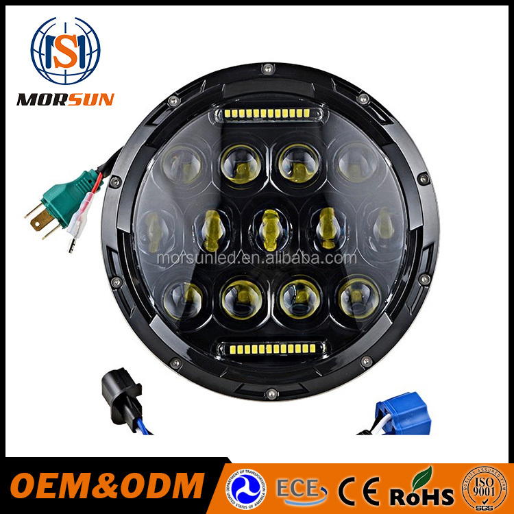 "new car accessories products 7"" motorcycle headlights 75w 12v black jeep headlight led 7inch"